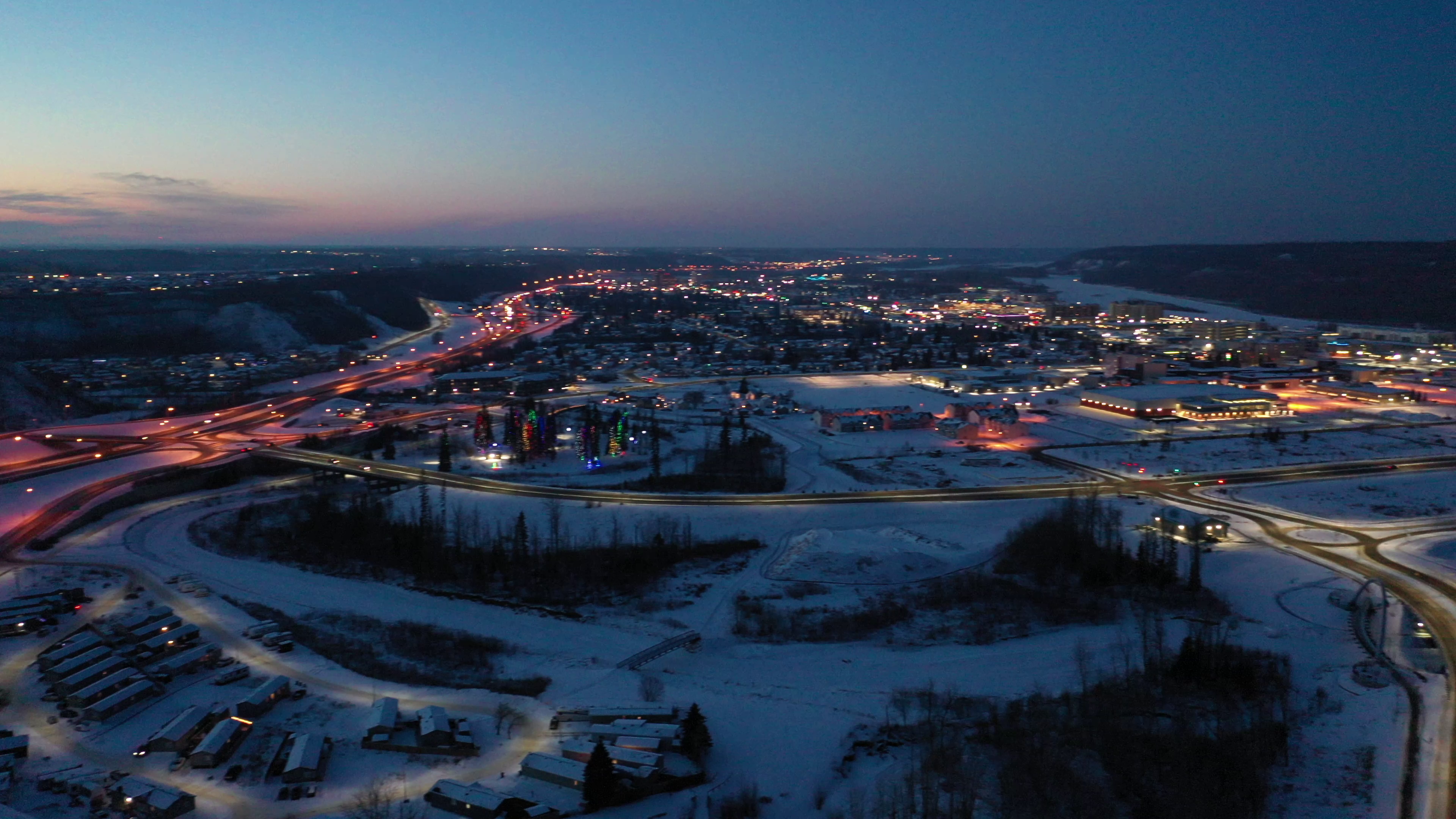 Downtown Fort McMurray Winter Sunset